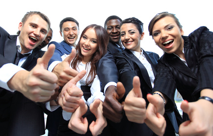 Happy marketers with thumbs up for Michele Peterson and Exactly Write Copywriting