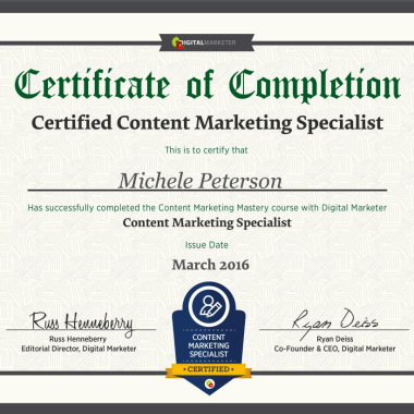 Michele Peterson earns Certified Content Marketing Specialist designation