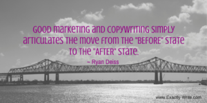 Good marketing simply articulates the move from before to after - marketing quote by Ryan Deiss