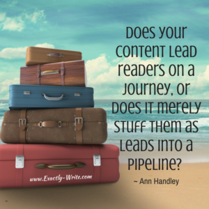Does your content lead readers on a journey - marketing quote by Ann Handley